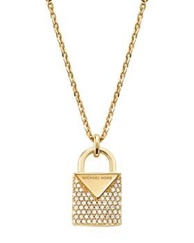 "Michael Kors - Kors Color Pavé Sterling Silver Padlock Charm Necklace in 14K Gold-Plated Sterling Silver, 14K Rose Gold-Plated Sterling Silver or Solid Sterling Silver, 16"""