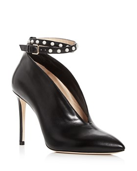 Jimmy Choo - Women's Lark 100 Leather Ankle Strap Pointed Toe Pumps