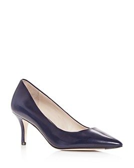 Cole Haan - Women's Vesta Leather Pointed Toe Mid-Heel Pumps