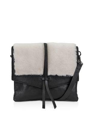 KOOBA Yukon Medium Leather & Shearling Crossbody in Black/Ecru/Silver