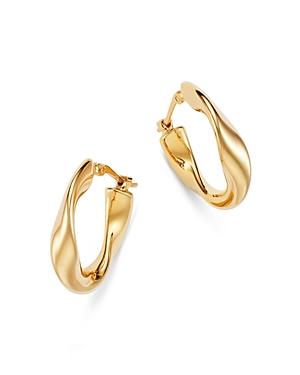 Flat Twist Hoop Earrings in 14K Yellow Gold