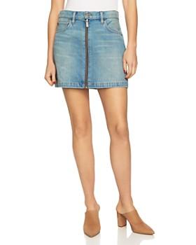 1.STATE - Zip-Front Denim Mini Skirt