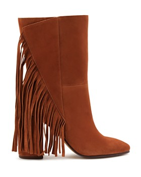 Dolce Vita - Women's Short Fringe Almond Toe Suede High-Heel Boots