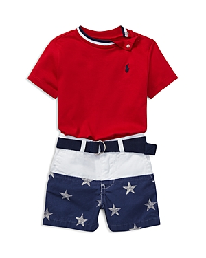 Ralph Lauren Boys Tee Contrast StarPrint Shorts  Belt Set  Baby
