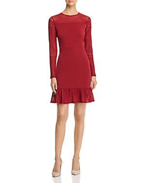 Michael Michael Kors Lace-Trimmed Flounce Dress