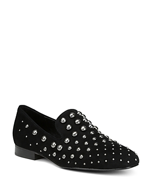 Donald Pliner Women\\\'s Loyd Almond Toe Studded Suede Loafers
