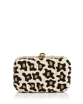 From St Xavier - Small Leopard Print Beaded Box Clutch Crossbody
