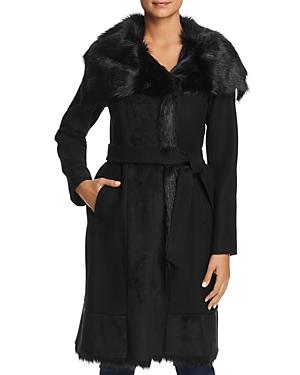 Vince Camuto Faux Fur Trim Belted Wrap Coat