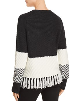 AQUA - Fringed Color-Block Sweater - 100% Exclusive