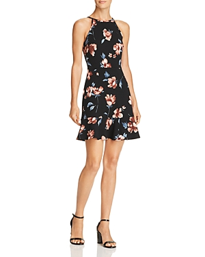 Aqua Floral Print Flounce-Hem Dress - 100% Exclusive