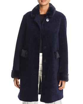 Maximilian Furs - Lamb Fur Coat with Mink Fur Trim - 100% Exclusive