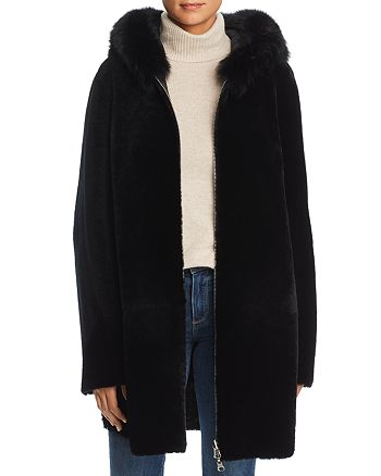 Maximilian Furs - Reversible Lamb Shearling Coat with Fox Fur Trim - 100% Exclusive