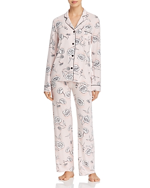 Pj Salvage SHADOW STRIPE FLORAL LONG JERSEY PJ SET