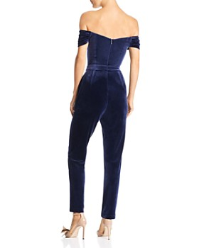 Adelyn Rae - Off-the-Shoulder Velvet Jumpsuit