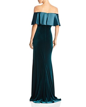 Adrianna Papell - Off-the-Shoulder Mixed Media Gown