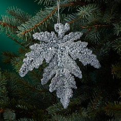 Bloomingdale's White Glitter Leaf Ornament - 100% Exclusive_0