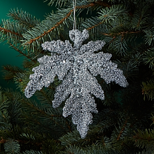 Bloomingdale's White Glitter Leaf Ornament - 100% Exclusive