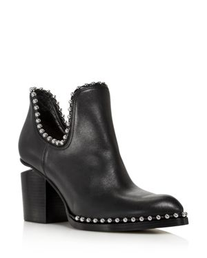 Alexander Wang Women's Gabi Pointed Toe Studded Leather High-Heel Ankle Boots