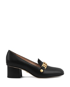 Gucci - Women's Sylvie Almond Toe Leather Mid-Heel Pumps