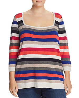 525 America Plus Square-Neck Striped Sweater