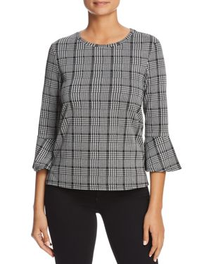 FINN & GRACE Glen Plaid Bell Sleeve Top - 100% Exclusive in Black/White
