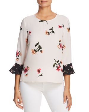 FINN & GRACE Mixed Floral Bell Sleeve Top in Pink/Black
