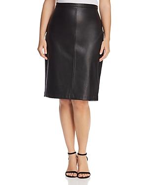 Estelle Plus Troubled Weather Faux-Leather Pencil Skirt