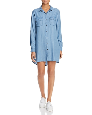 Billy T CHAMBRAY RUFFLE BACK SHIRT DRESS