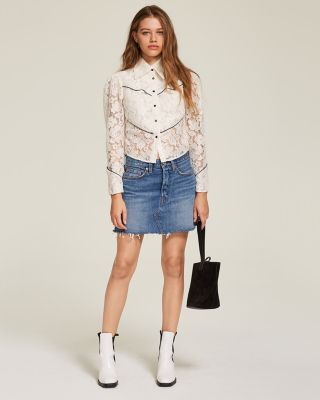 Deconstructed Denim Mini Skirt in Middle Man