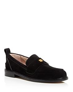 Stuart Weitzman - Women's Crome Almond Toe Suede Loafers
