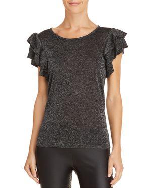 Lucy Paris Metallic Ruffle-Sleeve Top