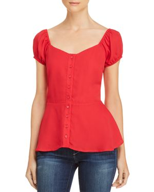 LOST AND WANDER LOST + WANDER PUFF-SLEEVE PEPLUM TOP