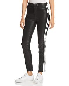 rag & bone/JEAN - Track Stripe Leather Ankle Cigarette Jeans in Black