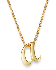 Roberto Coin - 18K Yellow Gold Cursive Initial Necklace, 16""