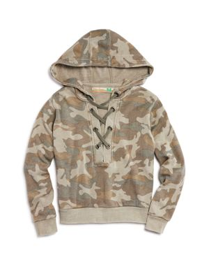 Vintage Havana Girls' Camo-Print Lace-Up Fleece Sweatshirt - Big Kid