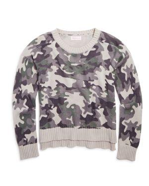 Design History Girls' Camo-Print Sweater - Big Kid