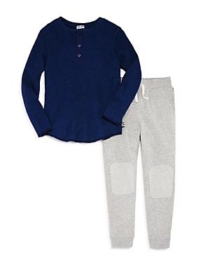 Splendid Boys' Ribbed Henley Shirt & Terry Jogger Pants Set - Little Kid