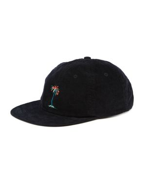 BANKS Lei Lei Embroidered Palm Tree Corduroy Cap in Dirty Black
