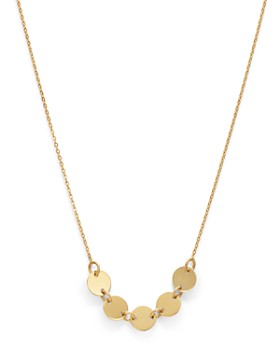 "Moon & Meadow - 14K Yellow Gold Five Linked Discs Necklace, 15.25"" - 100% Exclusive"
