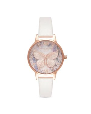 OLIVIA BURTON Glasshouse Faux Leather Strap Watch, 30Mm in Blush/ White/ Rose Gold