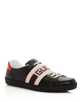 Gucci Men's Ace Jacquard Stripe Leather