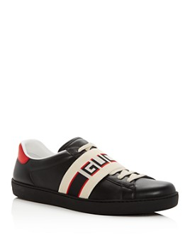 Gucci - Men's Ace Jacquard Stripe Leather Lace Up Sneakers