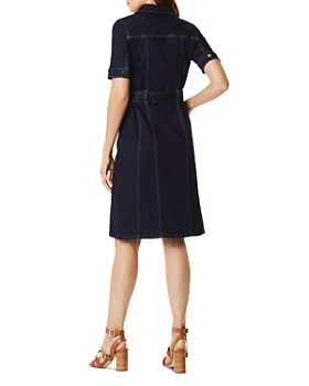 KAREN MILLEN - Zip-Front Denim Shirt Dress