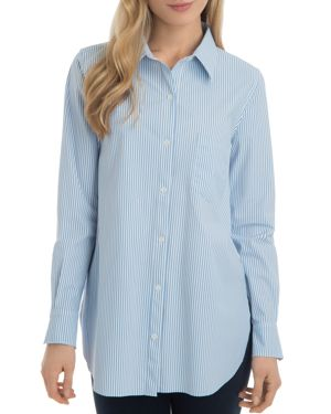 LYSSÉ Schiffer Striped Tunic Shirt in Blue Stripe