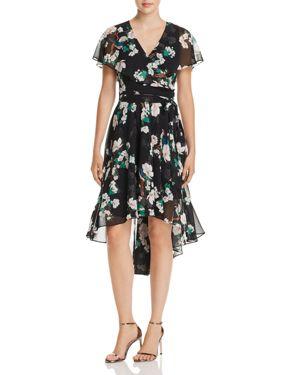 ELIZA J Floral Print Faux-Wrap High/Low Dress in Black