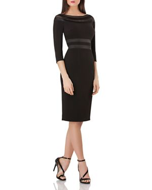JS COLLECTIONS Js Collection Ottoman Illusion Lace Inset Cocktail Dress in Black