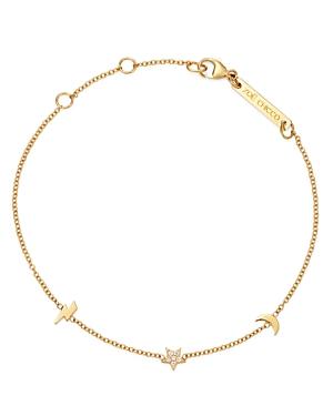 Zoe Chicco 14K Yellow Gold Itty Bitty Lightning Bolt, Moon & Star Diamond Adjustable Bracelet-Jewelry & Accessories