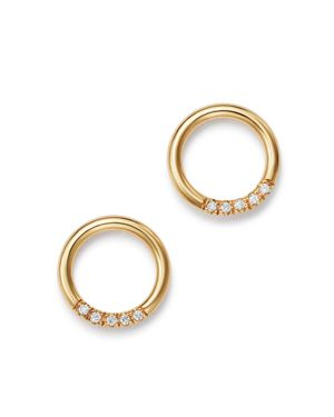 Zoe Chicco 14K Yellow Gold Small Thick Circle Pave Diamond Stud Earrings