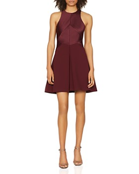 HALSTON HERITAGE - Ribbed Fit-and-Flare Mini Dress