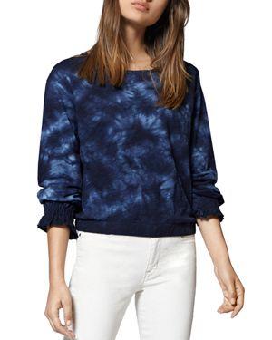 Tie-Dye Long-Sleeve Cotton Sweatshirt, Indigo Blue